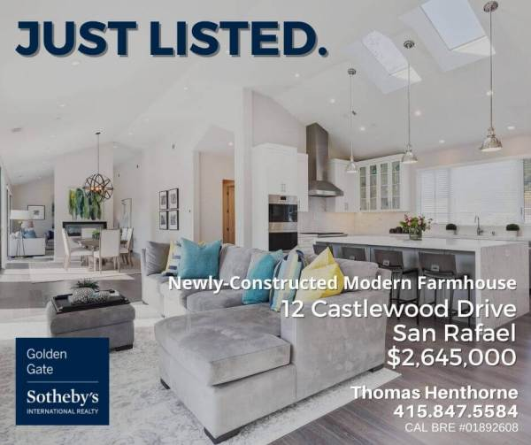12 castlewood drive san rafael just listed banner