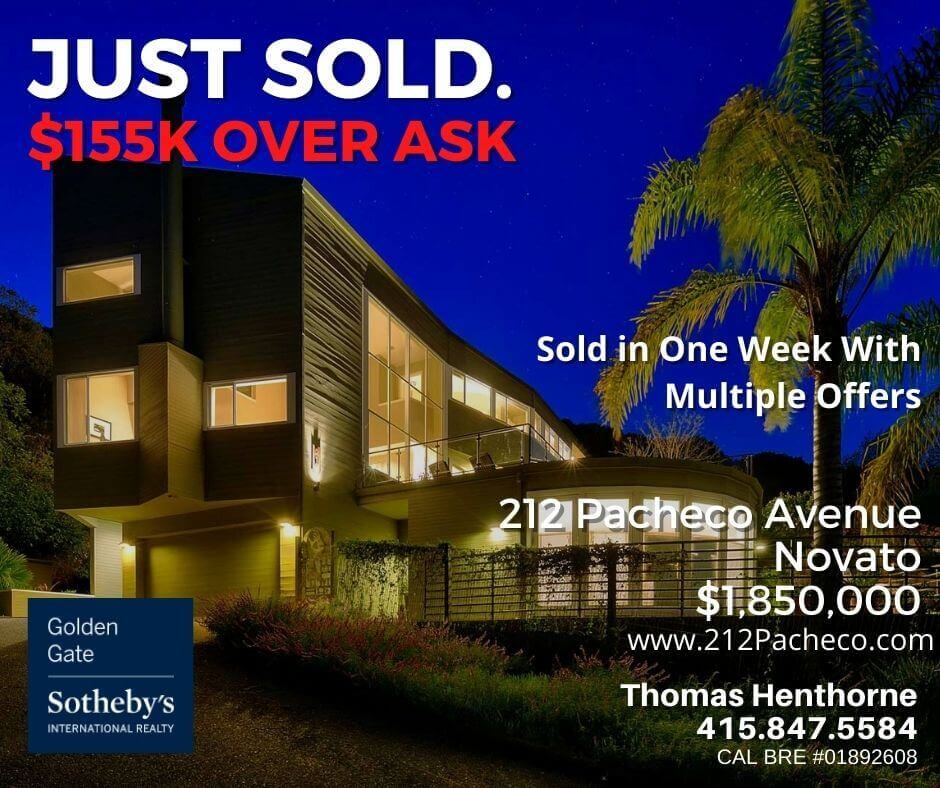 212 Pacheco Avenue in Novato at twilight just sold chart