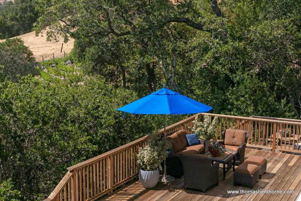 outdoor furniture and umbrella
