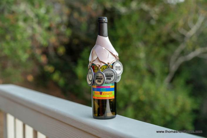 wine bottle with medals