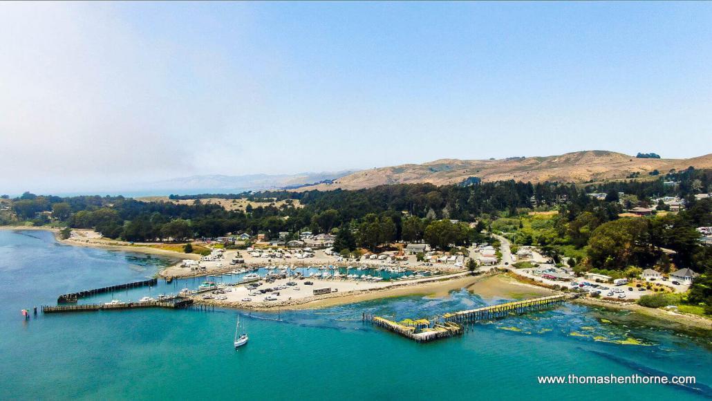 Aerial view of Bodega Bay, California