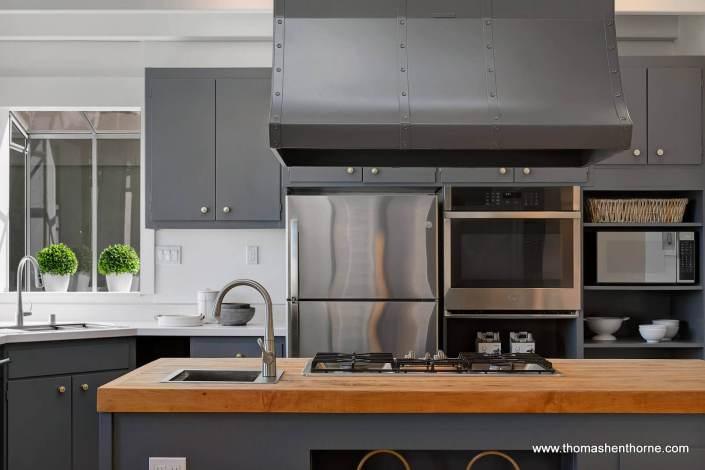 kitchen with butcher block center island