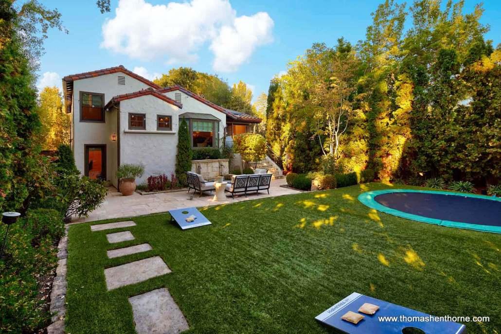 backyard with trampoline