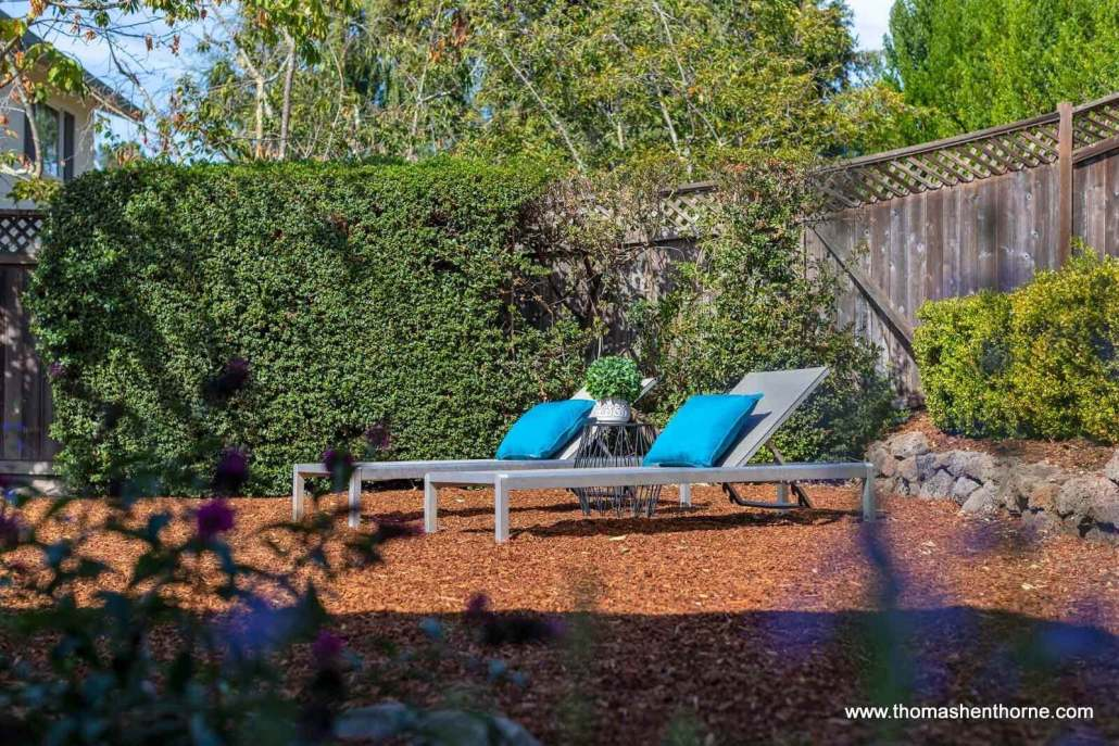 two chaise lounges outside