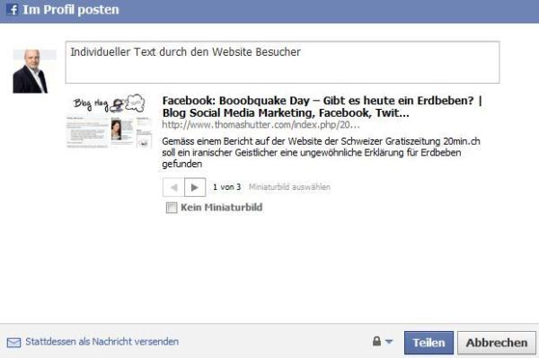 Facebook Teilen - Dialog
