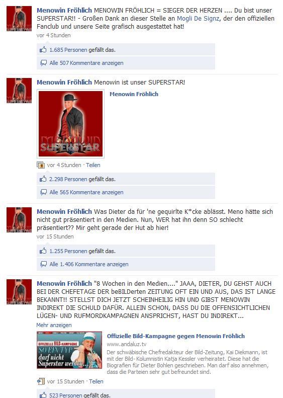 Kommentare auf der Menowin-Fanpage