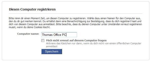 Facebook - Kontosicherheit - Anmeldung