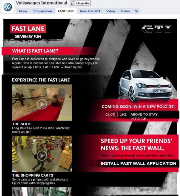 "VW Facebook Seite ""Fast Lane"""
