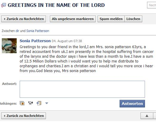 Nachricht von Sonia Patterson