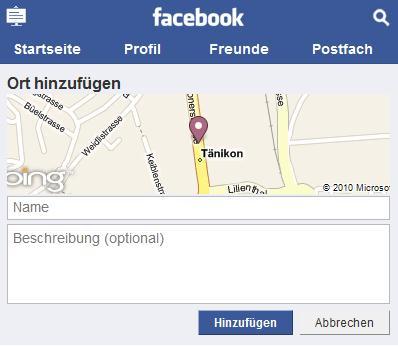 Hinzufügen eines neuen Ortes auf touch.facebook.com