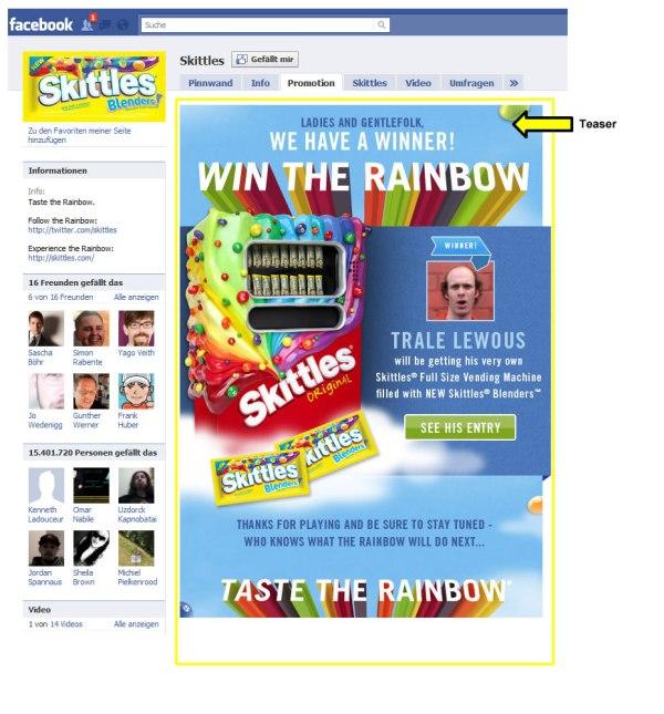 Landingpage der Facebookseite von Skittles