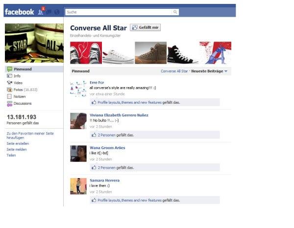 Die Facebookseite von Converse All Star verzichtet auf eine Landingpage