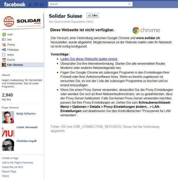 Fehlermeldung LandingTab Solidar-Facebookseite