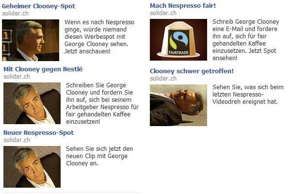 Facebook Ads von solidar.ch mit Georg Clooney