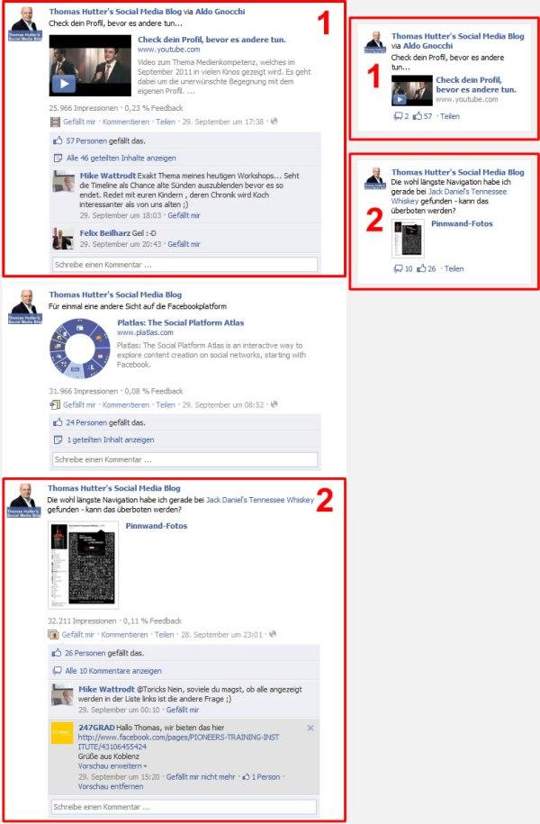 Beispiel Pinnwand facebook.com/thomashutterblog und daraus generierte Page Post Ads