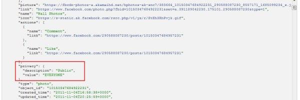 Ansicht eines Postings im Graph API Explorer über einen Benutzer mit Administrationsberechtigung