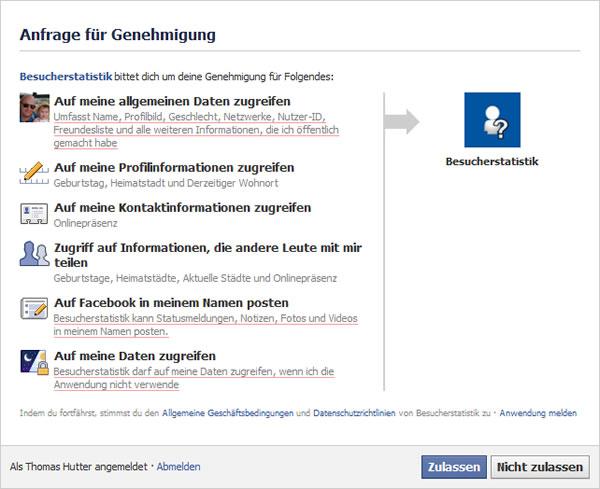 """Beispiel einer """"Anfrage für Genehmigung"""" an Hand der Fake-Applikation """"Besucherstatistik"""""""