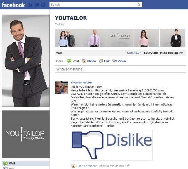 Pinnwandbeitrag youtailor-Facebookseite