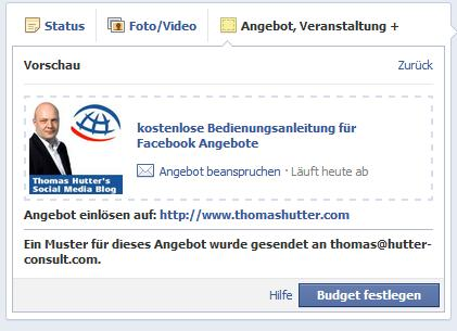 Facebook Angebote erstellen - Vorschau