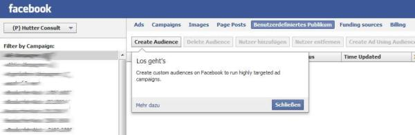 Audiences für Facebook Ads (Benutzerdefiniertes Publikum)