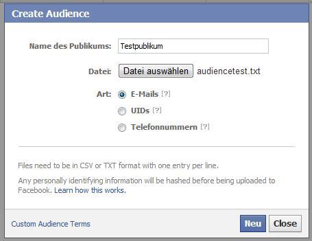 Audiences für Facebook Ads (Benutzerdefiniertes Publikum) - Erstellen einer neuen Audience