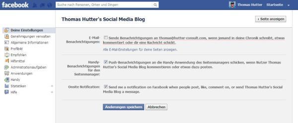 Onsite Notification über Aktivitäten auf Facebook Seiten