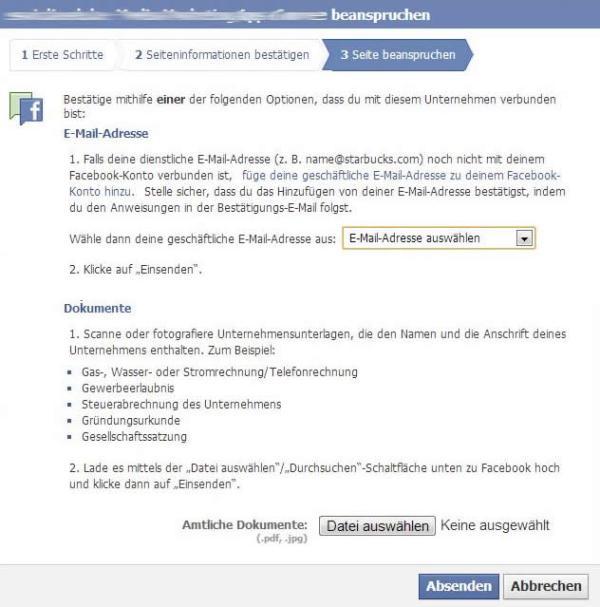"""""""Verifikation des Anspruches"""" im Claiming-Prozess für Facebook Orte"""