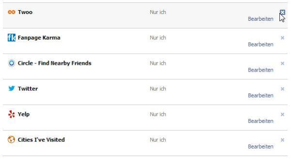Verwendete Facebook Applikationen verwalten