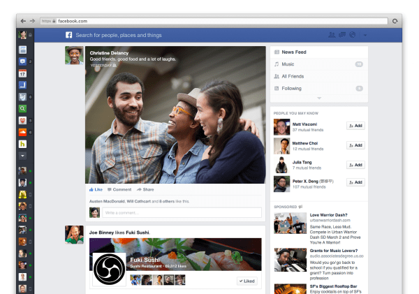 Der neue Facebook News Feed (Quelle: Facebook)