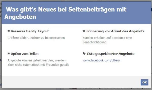 Neuigkeiten bei Angeboten für Facebook Seiten