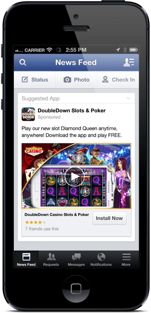 Video-Integration im Mobile App Install Ad (Quelle: Facebook)