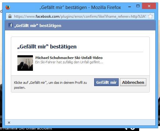 """""""Gefällt mir""""-Bestätigung durch Facebook"""
