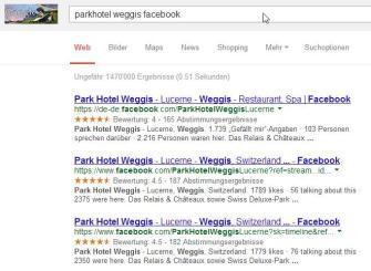 """Suche nach """"Parkhotel Weggis Facebook"""" bei google.ch"""