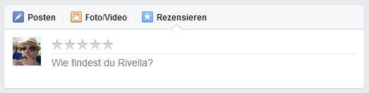 """""""Rezensieren""""-Button in der Publikationsbox auf Facebook Seiten"""