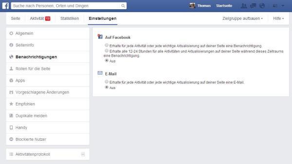 Benachrichtigungen für Facebook Seiten