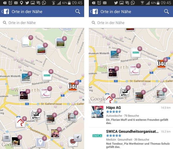 Nearby in der Facebook Mobile App