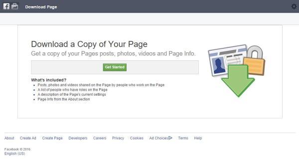 Die eigene Facebook Seite herunterladen