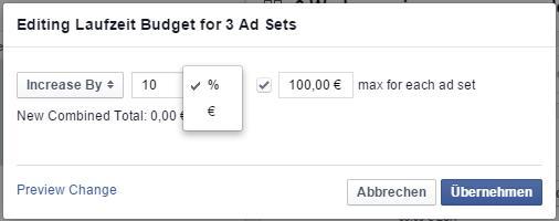 """Budget anpassen"" Dialog im Power Editor"