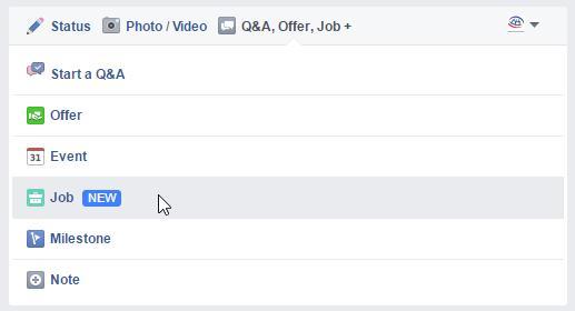 """Neue Beitragsart """"Job"""" für Facebook Seiten"""