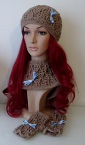 Textured Lacy Hat, Gloves and Cowl Set Crochet