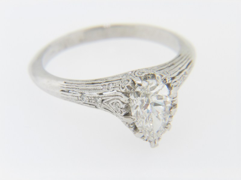 Vintage 1 19ctw Pear Cut Diamond Engagement Ring in Platinum Size     IMG 0375  This is a timeless vintage 1 19ctw pear cut diamond