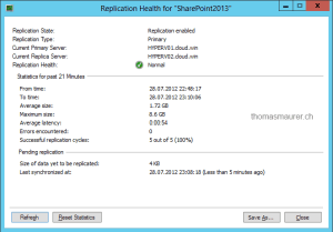 Hyper-V Replica replication state and healt VM