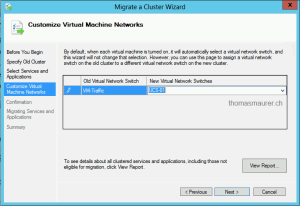 Cluster Migration Wizard Hyper-V Virtual Switch