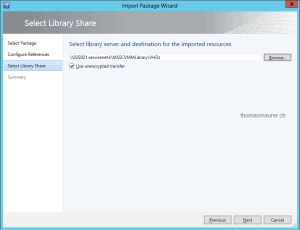 Import Templates in Virtual Machine Manager resource location