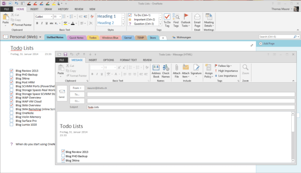 Send OneNote notes via email