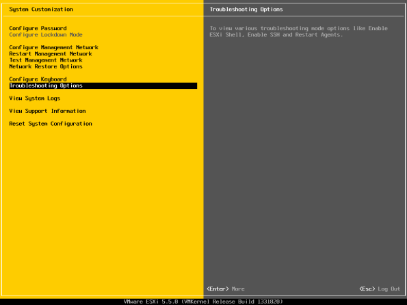 VMware ESXi Troubleshooting options