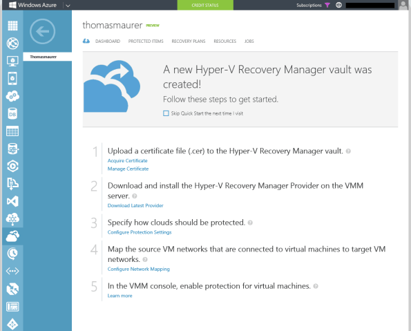 Windows Azure Portal Hyper-V Recovery Manager