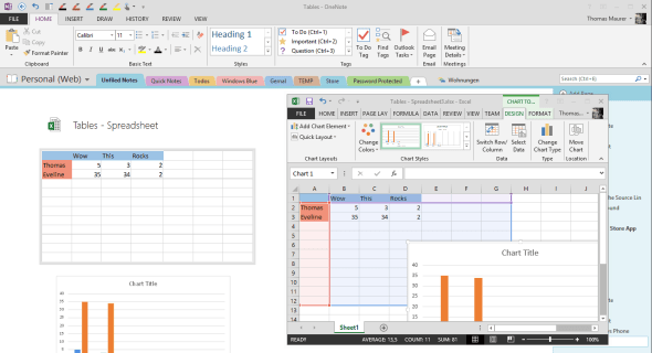 OneNote Excel