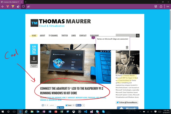 Microsoft Edge Webnote in Windows 10