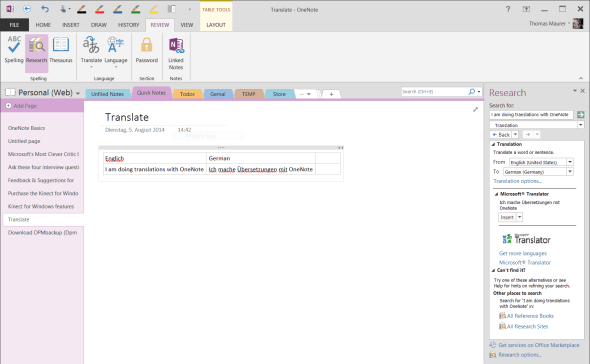 Translations with OneNote